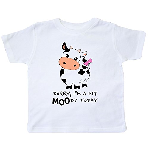 (inktastic - Sorry, I'm a bit Moody Today Cute Cow Toddler T-Shirt 2T White 29b92)