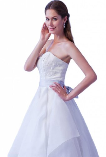Women's Princess A Dearta With Line Embroidered Sash Wedding Ivory Dresses xadAUqw