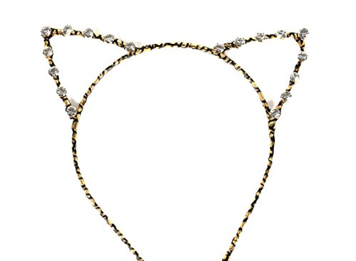 VK Accessories Crystal Cat Ear Hair Band Gold Sexy Women's Hair Clips Black and (Halloween Neko Costume)