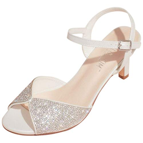 David's Bridal Crystal Peep-Toe Heeled Sandals with Satin Accents Style Adyson, White, 6.5