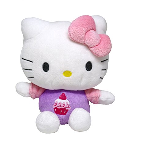 SANRIO Hello Kitty Cute Plush Toy with Cupcake Print and 3D Pink Bow (Hello Kitty Valentines Day Cup)