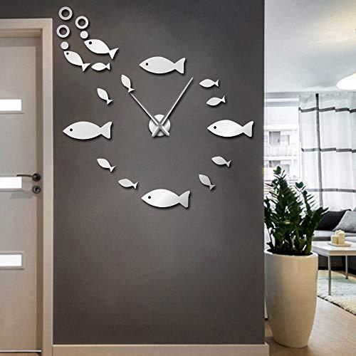 The Geeky Days Fish with Bubble DIY Giant Wall Clock Mirror Effect Wall Art Home Decor Aquarium Decoration Frameless Big Needle Clock ()