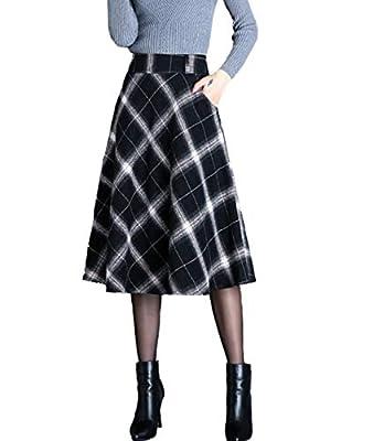 Femirah Women's High Waist A Line Plaid Skirt Winter Warm Flare Skirt