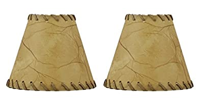 Urbanest 1100504a Chandelier Lamp Shades 6-inch, Hardback, Faux Leather, Laced Trim, Clip on (Set of 2)