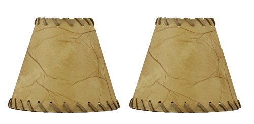 Urbanest 1100504a Chandelier Lamp Shades 6-inch, Hardback, Faux Leather, Laced Trim, Clip on (Set of 2) Rawhide Trim