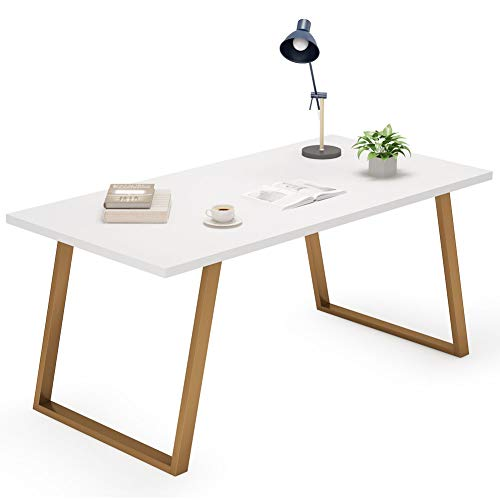 Tribesigns 55'' White Writing Desk, Minimalist Computer Desk with Slanted Gold Metal Frame, Simple Style Study Laptop Table for Home Office (White+Glod) by Tribesigns (Image #5)