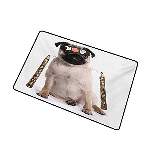 Interior Door mat Pug Ninja Puppy with Nunchuk Karate Dog Eastern Warrior Inspired Costume Pug Image W35 xL47 Quick and Easy to -