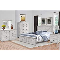 Bedroom Cottage Creek Crossing Lakes King 5 Piece Solid Wood Bedroom Set in Misty Grey | Fully Assembled farmhouse bedroom sets