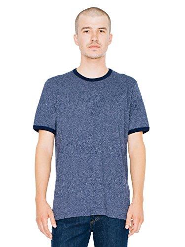 American Apparel Men's Mock Twist Jersey Crewneck Ringer T-Shirt, Deep Navy, Medium