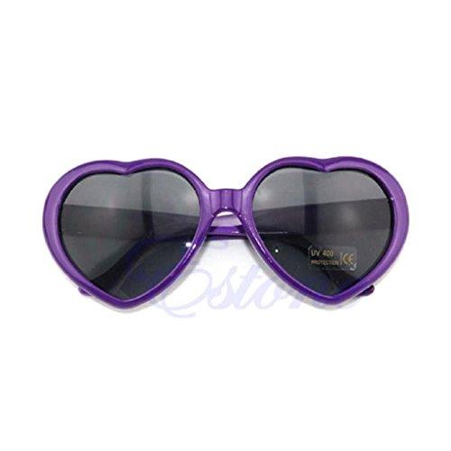 Hukai Vintage Retro 10 Color Men Women New Fashion Lolita Heart Shaped Love Sunglasses - For Shape Sunglasses Face Women's