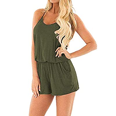 Bluetime Women Rompers Summer Casual Beach Spaghetti Strap Outfit Short Jumpsuit: Clothing