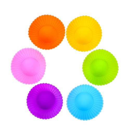 BakeBaking Silicone Baking Cups for Cupcake - Standard Muffin Tin - Reusable Kitchen Cake Pan 24 pack in Pink Blue Green Orange Yellow Purple