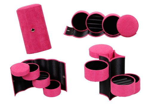 Bundle Monster 3 Tier Compartment Mini Velvet Travel Roll Up Jewelry Box Case Organizer Holder with Snap Closure - ULTRA PINK