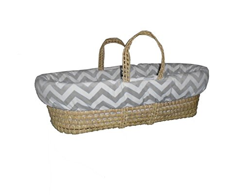 Baby Doll Minky Chevron Moses Basket, Grey by BabyDoll Bedding