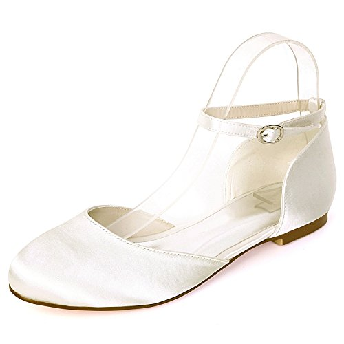 Tacones 0 Hebilla Heel Evening De 6cm Mediados Las Mano Zapatos Eleoulck Satén A Hecho Ivory Mujeres Boda Otoño Moda Y6xwRCq7n