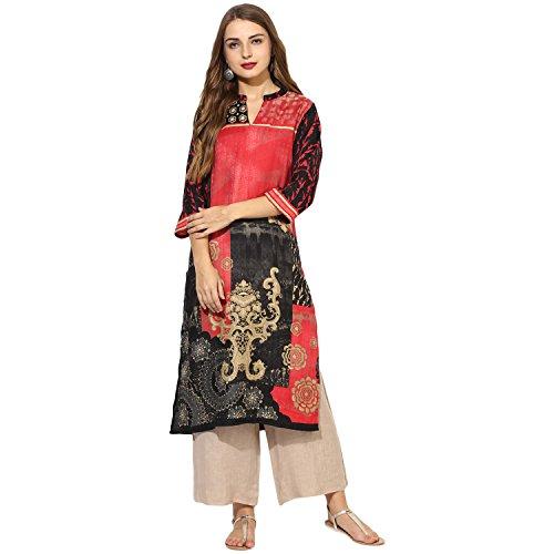 Lagi Multi Designer Women Straight Multi Design Printed Kurti for Women Tunic Top r 3/4 Sleeve Dress. … (M, Pink (CH1012A))