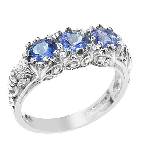925 Sterling Silver Real Genuine Tanzanite Womens Band Ring