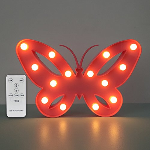 Night Light Butterfly Led Night Light Remote with Dimmer Birthday Gifts for Kids Who love Animals or Kids Room Decor (Butterfly Pink)