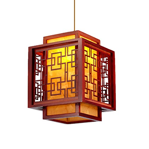 (Metcandy Classical Chandelier Antique Woodwork Imitation Parchment Living Room Dining loft Pendant Light,35CM)