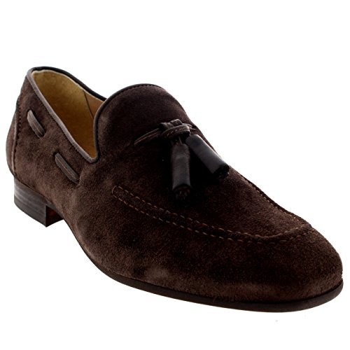 H by Hudson Mens Pierre Tassel Office Smart Slip On Work Loafers Shoes - Brown - ()