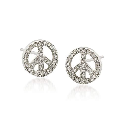 Ross-Simons 0.30 ct. t.w. Diamond Peace Sign Earrings in 14kt White Gold