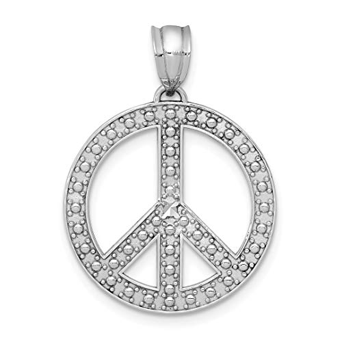 14k White Peace Symbol Pendant Charm Necklace Man Fine Jewelry Gift For Dad Mens For -