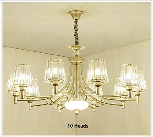 (BAG LED Modern Golden Crystal Chandelier Ceiling Lamp, Wrought Iron 12/10/8/6/3Lights Glass Lampshade E27 Screw Light Source Living Room Bedroom Lighting Fixtures)