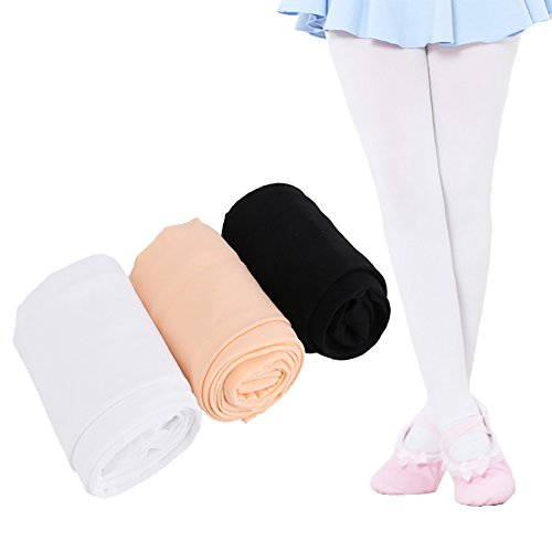 (Ehdching Pack of 3 Kids Girls Baby Soft Microfiber Tights Ballet Dance Velvet Stockings Pantyhose Tights (L(7-9y), light pink,white,black))