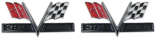 (H-7-6) Inline Tube 396 Turbo Jet Fender Emblems Compatible with 1965-67 Chevrolet Chevy Vehicles ()