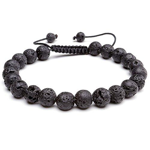 Top Plaza Lava Rock Agate Onyx Tiger Eye Stone Gemstone Bead Healing Power Bracelet W/Adjustable Braided Macrame Tassels(Lava Rock Stone - Rock Plaza
