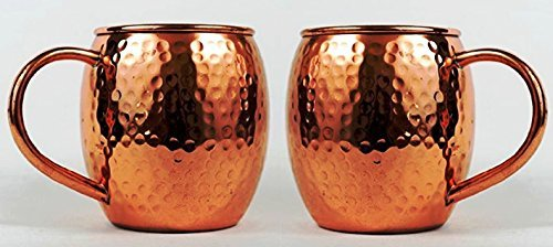 Hammered Copper Barrel Mug for Moscow Mules Size 16 Oz Set Of-2 by CGP