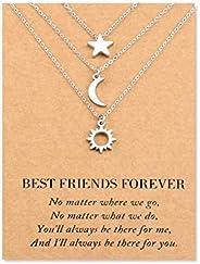 SUNSH Sun Moon Star Necklaces for Women Girls, Best Friends Boyfriend Girlfriend Family Mother Daughter Friend