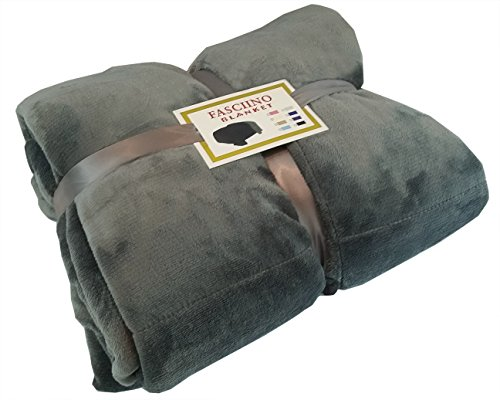 FASCIINO Super Soft Plush Velour Mink Borrego Blanket Throw