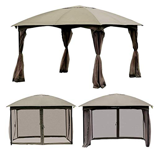 TANGKULA 11.5FT Patio Gazebo Canopy Tent Outdoor Wedding Party Shelter Awning Tent W/Mosquito Netting