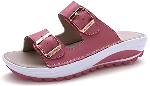 Sandals Platform Deep Casual Wedges Slip on ACE Pink Summer Leather Women Flat SHOCK Slippers ZPwf7Iq