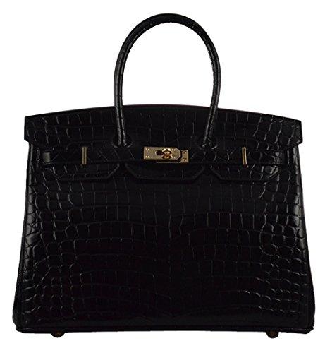Crocodile Embossed Leather Handbag (Ainifeel Women's Patent Leather Crocodile Embossed Top Handle Handbags (30cm, Black))