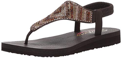 Skechers Women's Meditation-Gypsy Glam-Hooded Aztec Rhinestone Slingback Thong Flip-Flop Chocolate Multi 9 M US ()