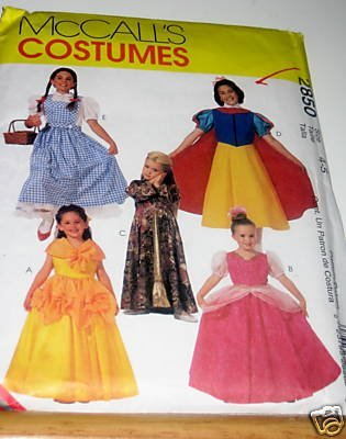 McCalls 2850 sewing pattern makes girls Storybook Costumes including Belle, Dorothy, Snow White and More makes size (Make A Belle Costume)