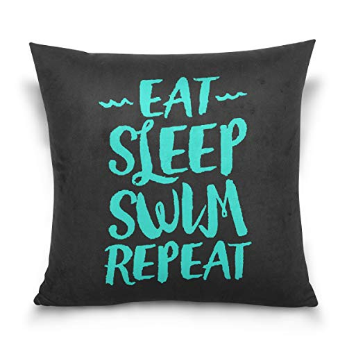 Aibileen Eat Sleep Swim Repeat Funny Text Art Decorative Cotton Short Plush Throw Pillow Case for Bed Sofa Swim Fans -