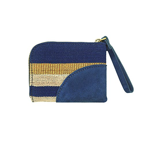 Slim and Small Zip Wallet, Traditional Designer Style Purse for Men and Women, Made from Cotton Embroidery Thread with Leather on the Corner, Navy Blue, Multi Color