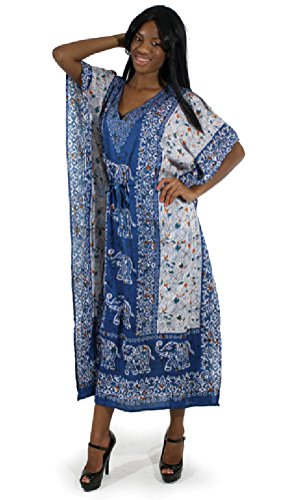 African Inspired Dresses (Elephant Caftan Kaftan with Drawstring Waist - Available in Several Colors (Turquoise))