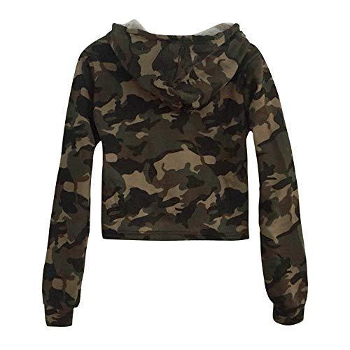 ANJUNIE Womens Printing Short Hoodies Sweatshirt,Long Sleeve Casual Round Neck Pullover Slim Tops (1-Green, -