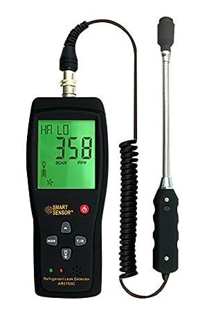 Smart Sensor Detector de fugas de gas refrigerante LCD retroiluminación Alarma Flexible pruebas sonda Digital Handheld halógena freón Detector de gas: ...