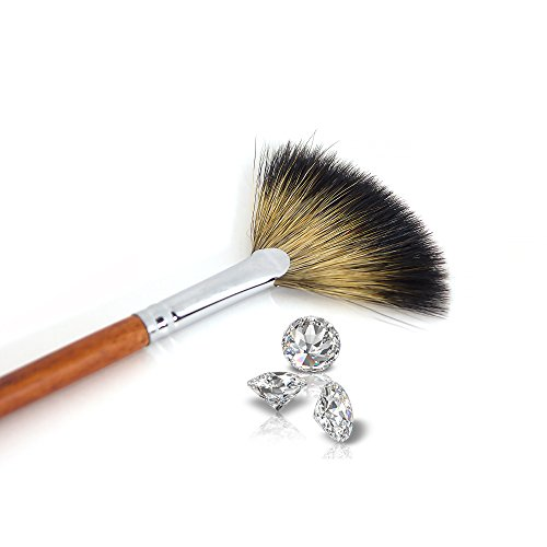 Professional Fan Makeup Brushes Face Highlighting Make Up Cosmetic by Beauty of Diamond (brown) by Beauty of Diamond