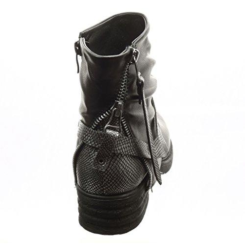 Angkorly - Chaussure Mode Bottine motard cavalier femme boucle peau de serpent fermeture zip Talon bloc 4 CM - Intérieur Fourrée - Noir