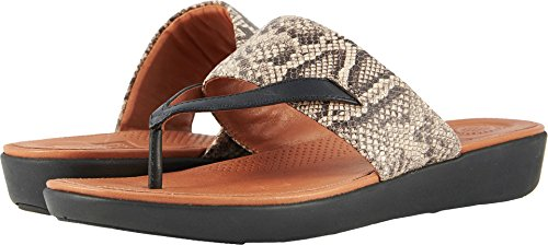 - FitFlop Womens Delta Toe Thong Sandals, Taupe Snake/Black, Size 7.0