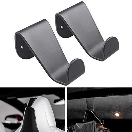 TapTes Coat Hooks Aluminum Alloy Seat Headrest Seat Back Hook Bag Holder Garment Clothes Coat Hangers Designed for Tesla Model S Model X Only - Black (Set of 2)