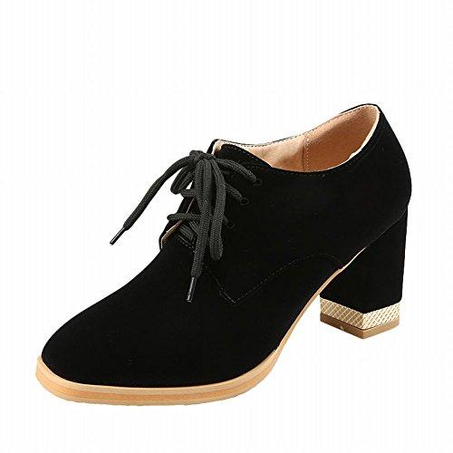 Show Shine Womens Fashion Chunky Heel Lace Up Oxfords Shoes Black 5VNO6j