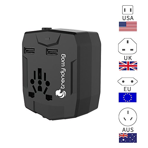 Universal Travel Adapter & Power Bank 6000 mAh, Trendy Wag, All International AC Socket Plugs in One with Two USB Charging Ports plus a Portable External Battery Charger (Black)