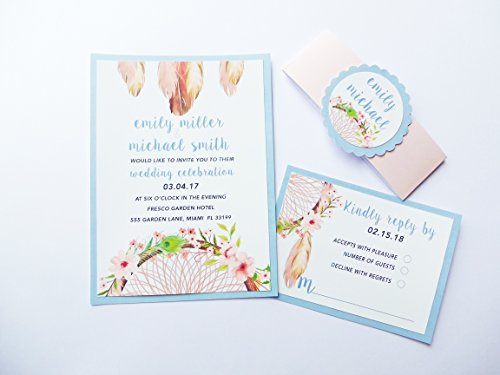 Romantic Wedding Invitations Watercolor Flowers Lavender Purple Green Bohemian Style + Envelopes + Response Cards Set SAMPLE by Pink The Cat